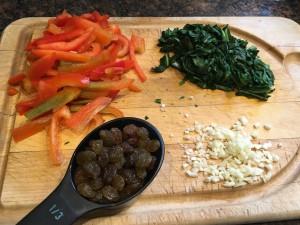 cabbage and dandelion stir fry ingredients