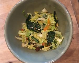 cabbage dandelion stir fry bowl